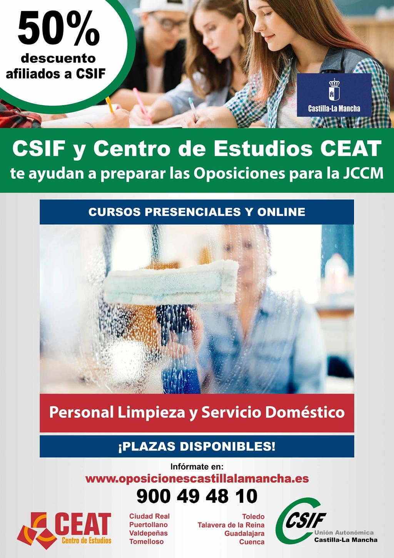 Oposiciones personal limpieza servicio doméstico JCCM